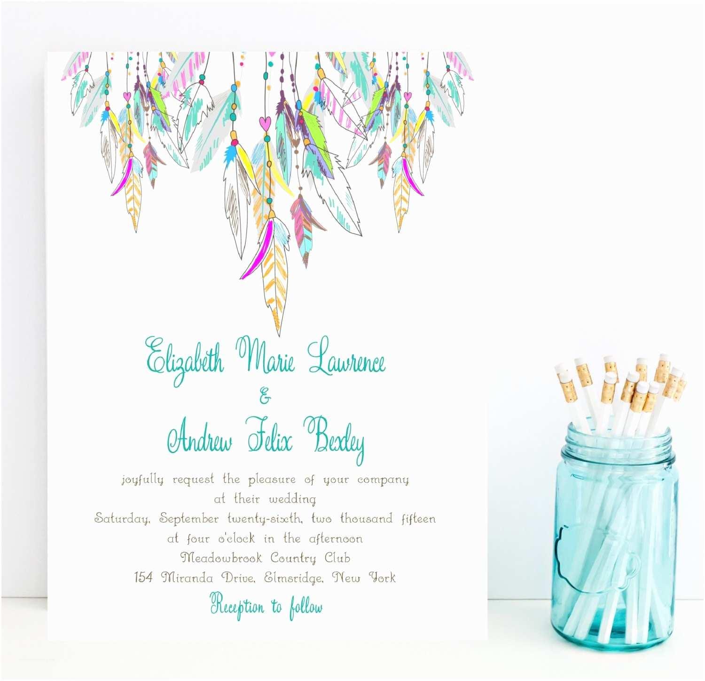 Native American Wedding Invitations Feather Wedding Invitation Native American by Whimsicalprints