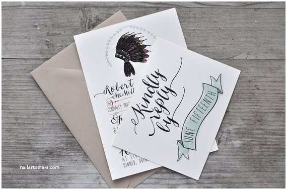 Native American Wedding Invitations Native American Headdress Wedding Invitation by