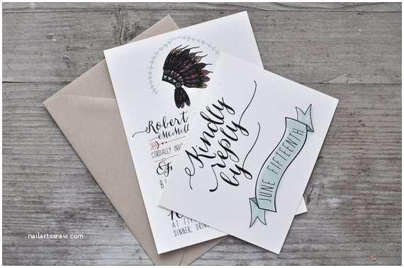 Native American Wedding Invitations Native American Headdress Wedding Invitation by