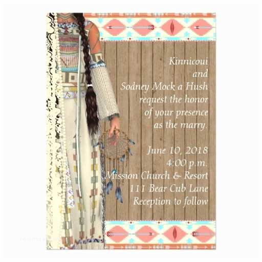 Native American Wedding Invitations Native American Wedding Invitation with Bride