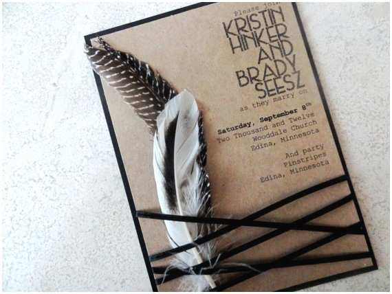 Native American Wedding Invitations Wedding Invitation with Feathers