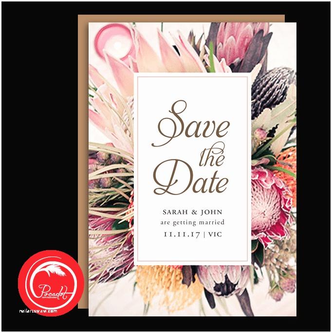Native Wedding Invitations Native Australian Floral Save the Date Card Pocadot