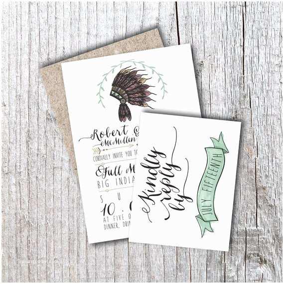 Native Wedding Invitations Rustic Wedding Invitation Native American by Housemanpaperco