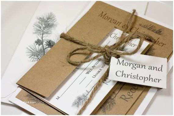 Natural Paper Wedding Invitations Pine Tree Natural Wedding Invitation Suite by