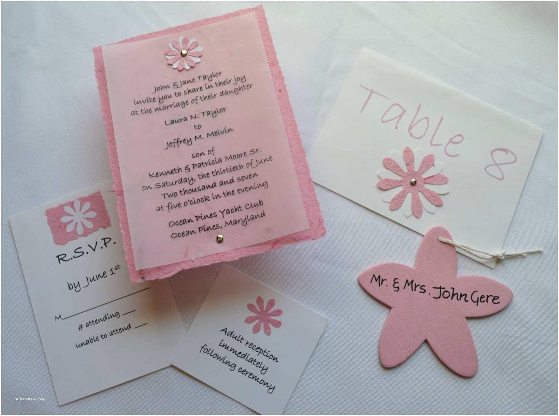 Natural Paper Wedding Invitations Pink Handmade Paper Wedding Invitation Set Of 75 the