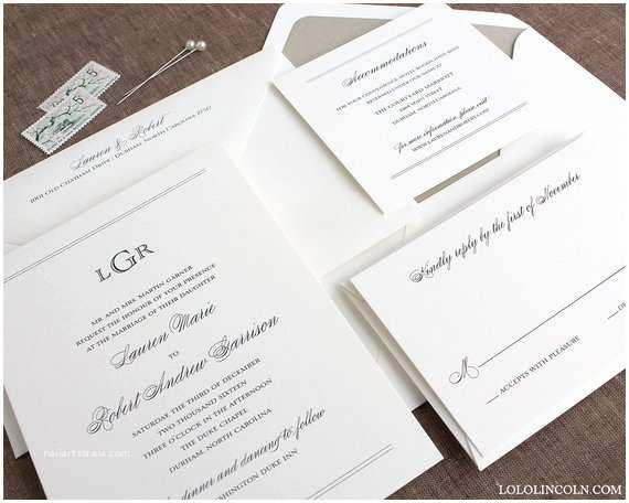 Natural Paper Wedding Invitations Preppy Monogram Wedding Invitation Sample by Lololincoln