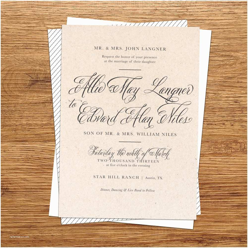 Natural Paper Wedding Invitations Rustic Wedding Invitation Kraft Paper Wedding by Kxodesign