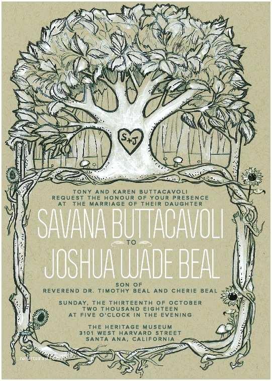 Nature Wedding Invitations Rustic Nature themed Wedding Invitation Illustration