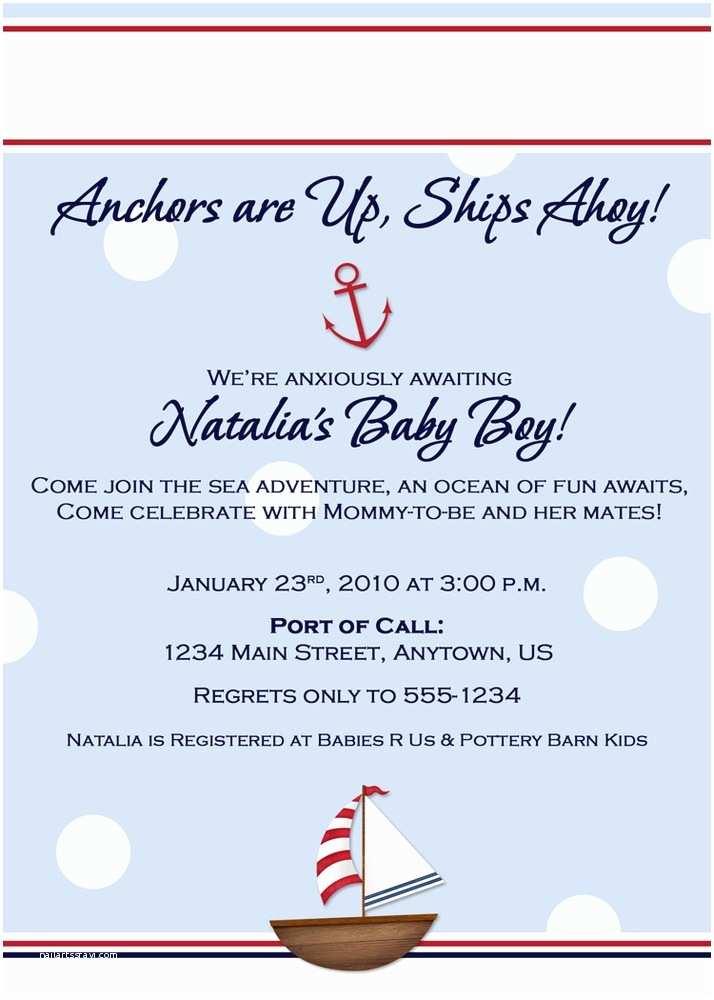 Nautical Baby Shower Invitation Nautical theme Baby Shower Invitation Wording Party Xyz