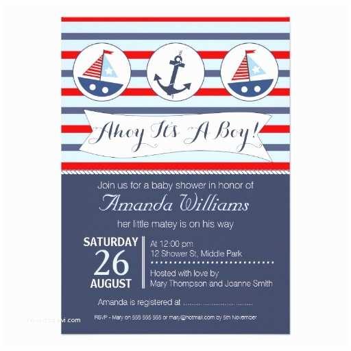 Nautical Baby Shower Invitations Boys Nautical Baby Shower Invitation