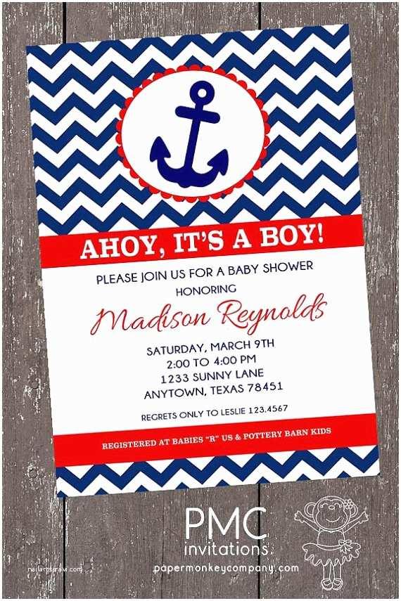 Nautical Baby Shower Invitations Chevron Nautical Baby Shower Invitations 1 00 Each with