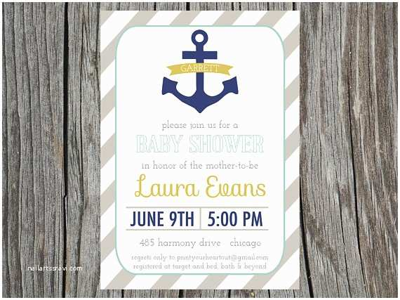 nautical baby shower invitation anchor