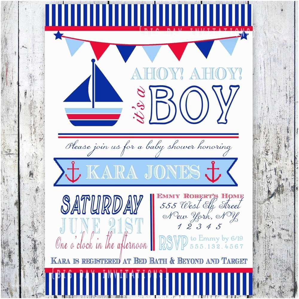 Nautical Baby Shower Invitations Nautical theme Baby Shower Invitations