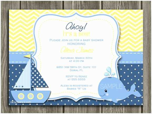 Nautical Baby Shower Invitations Templates Printable Nautical Sailboat Baby Shower Invitation