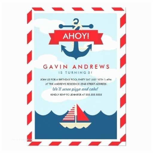 Nautical Birthday Invitations Ahoy Nautical Birthday Party Invitation