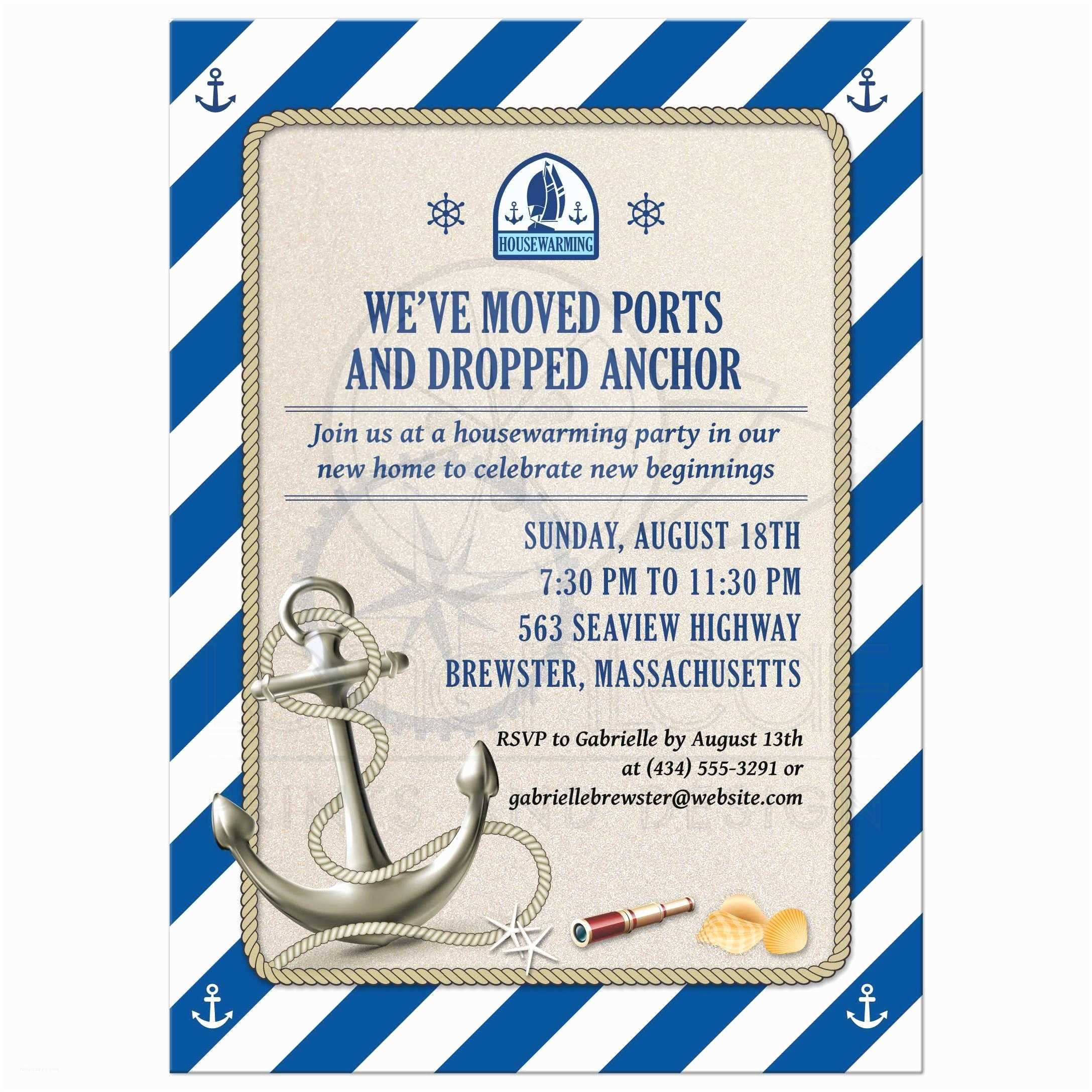 Nautical Birthday Invitations Moving Housewarming Party Invitation Nautical Stripes Anchor