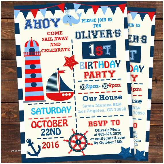 Nautical Birthday Invitations Nautical 1st Birthday Invitations
