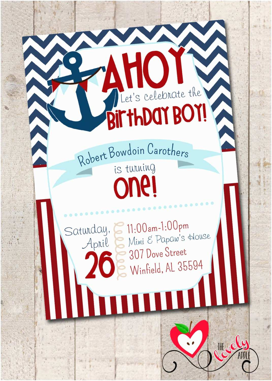 Nautical Birthday Invitations Nautical Birthday Boy Party Nautical First by thelovelyapple