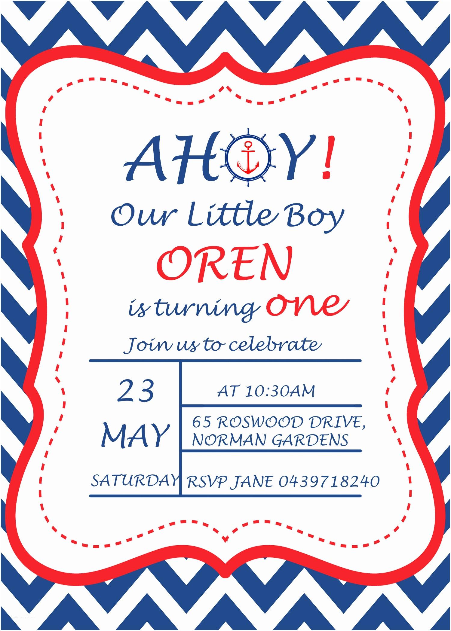 Nautical Birthday Invitations Nautical Birthday Party Invitations