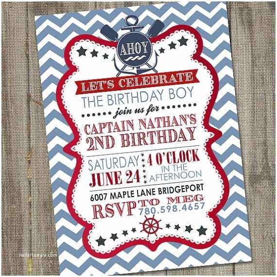 Nautical Birthday Invitations Nautical Party Invitation Nautical Sailor Party Printable
