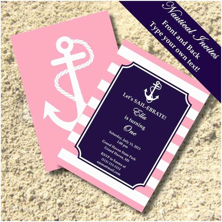 Nautical Birthday Invitations Pink Anchor Birthday Invitations Anchor Nautical Preppy