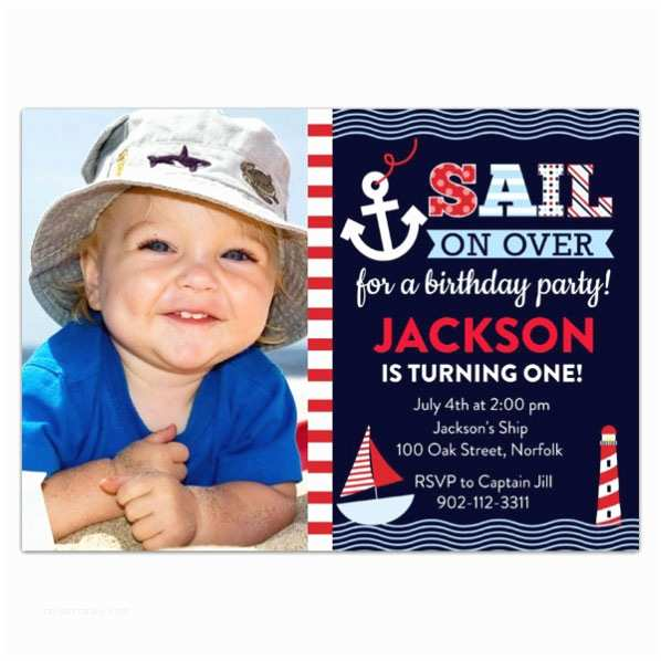 Nautical Birthday Invitations Sail Away Nautical Birthday Invitations