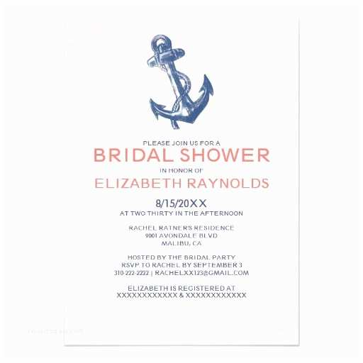 Nautical Bridal Shower Invitations Elegant Anchor Nautical Bridal Shower Invitations Card