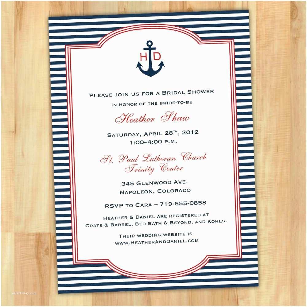 Nautical Bridal Shower Invitations Free Bridal Shower Invitations Printable Nautical theme