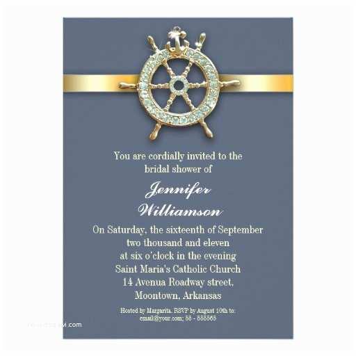 Nautical Bridal Shower Invitations Nautical Blue Golden Bridal Shower Invitations