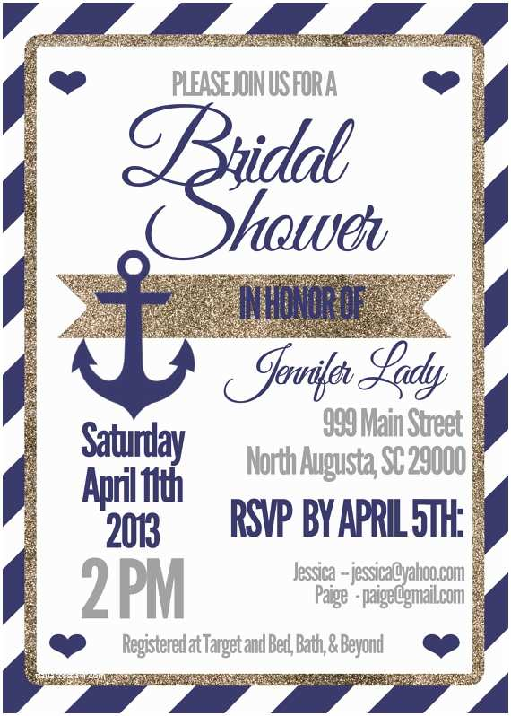 Nautical Bridal Shower Invitations Nautical Bridal Shower Invitations