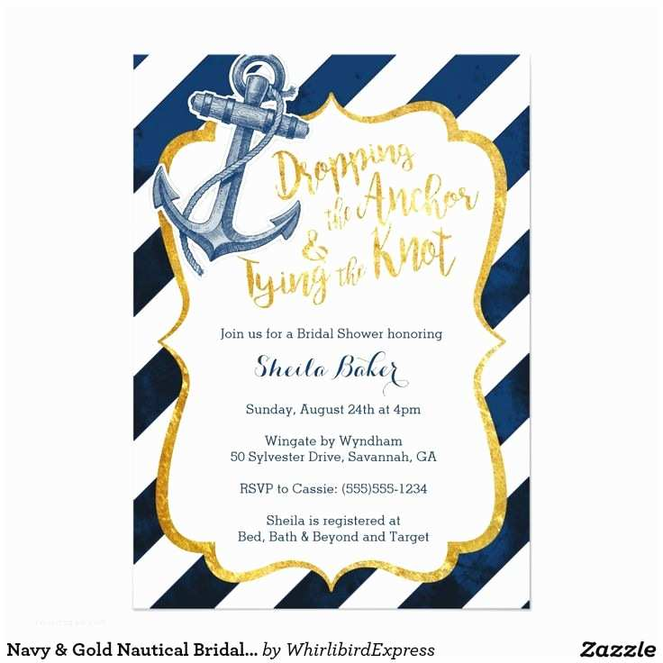 Nautical Bridal Shower Invitations Navy & Gold Nautical Bridal Shower Invitation
