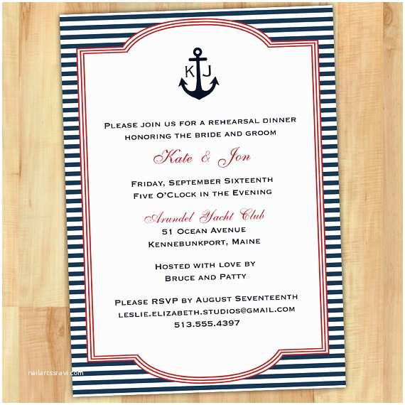 Nautical Rehearsal Dinner Invitations Nautical Anchor Rehearsal Dinner Invitation 5x7 Printable