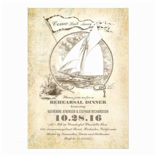 """Nautical Rehearsal Dinner Invitations Vintage Nautical Boat Rehearsal Dinner Invite 5"""" X 7"""