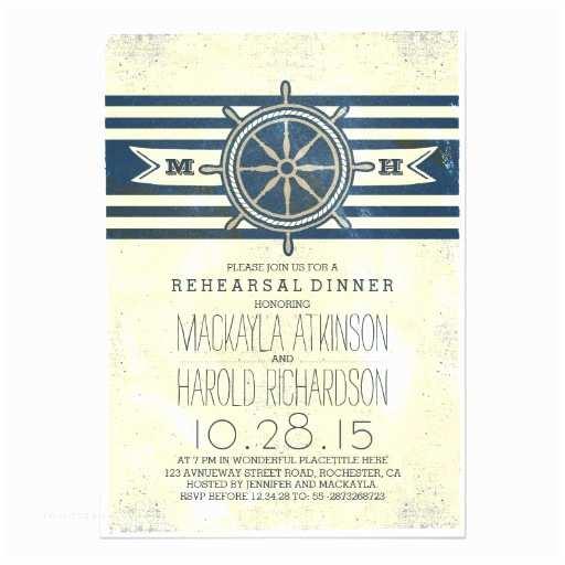 Nautical Rehearsal Dinner Invitations Vintage Nautical Navy Rehearsal Dinner Invitation