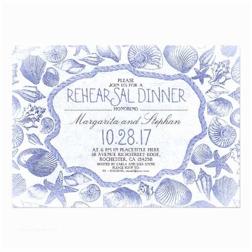 Nautical Rehearsal Dinner Invitations Vintage Seashells Nautical Beach Rehearsal Dinner
