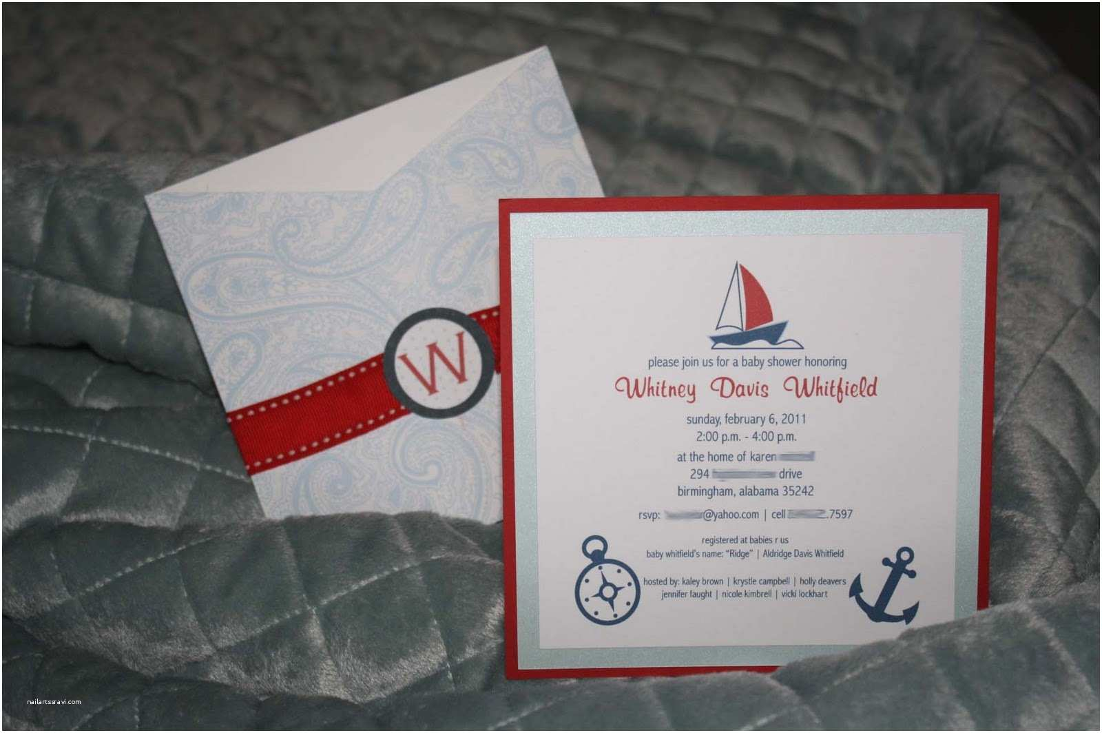 Nautical theme Baby Shower Invitations A Little something Detailed Pocket Baby Shower Invitation