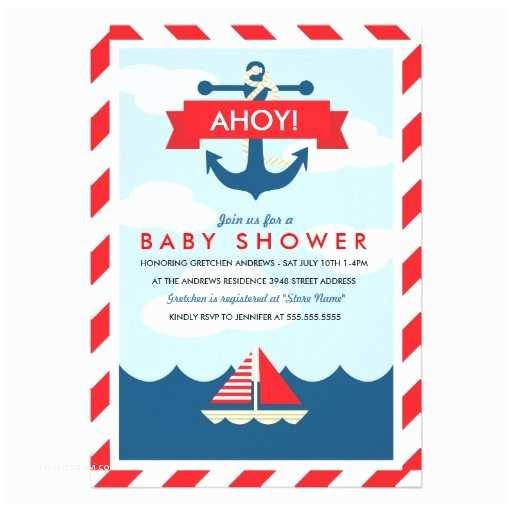 Nautical theme Baby Shower Invitations Ahoy Nautical Baby Shower Invitation