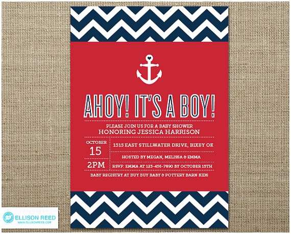 Nautical theme Baby Shower Invitations Nautical Baby Shower Invitation Nautical Printable