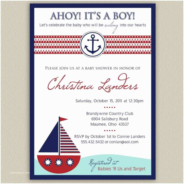 photograph about Nautical Baby Shower Invitations Printable titled Nautical concept Boy or girl Shower Invites Sailboat Nautical