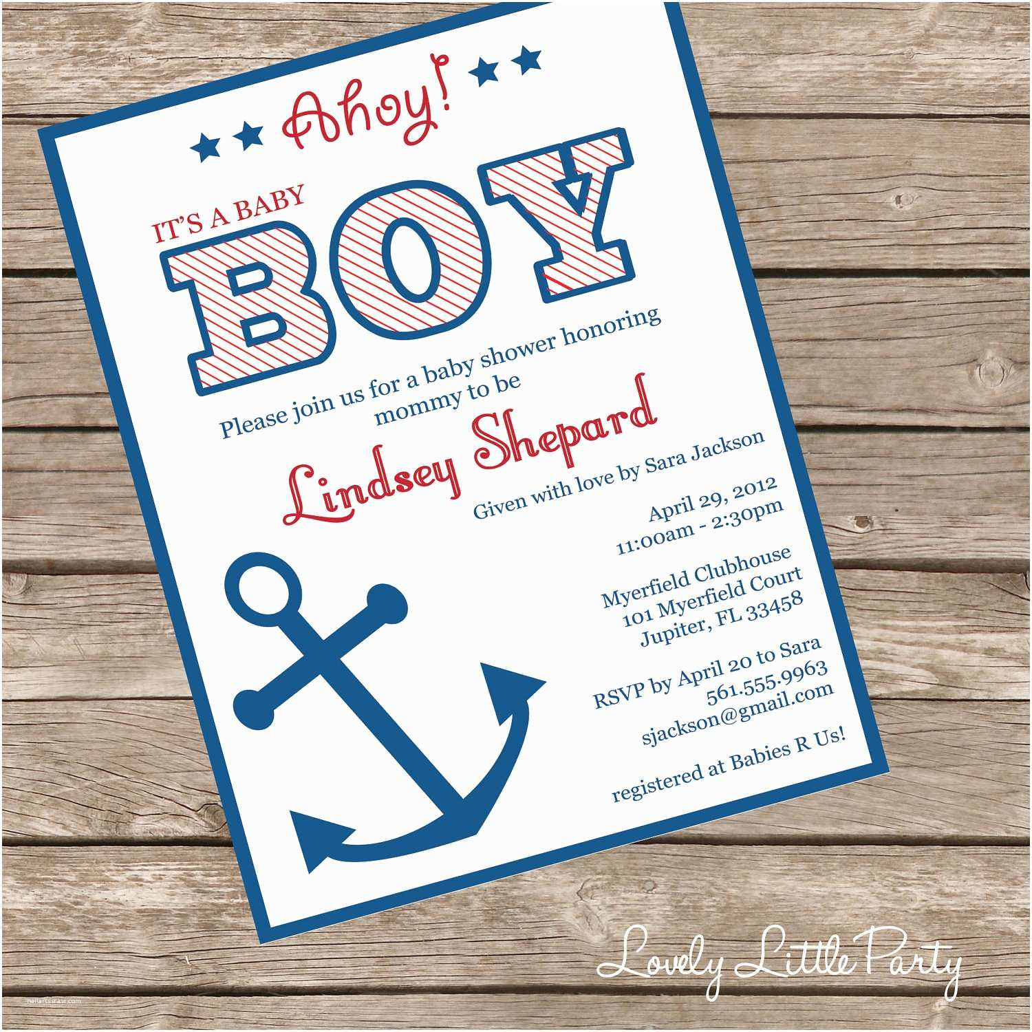 Nautical theme Baby Shower Invitations Printable or Printed Nautical Baby Shower Invitation Lovely