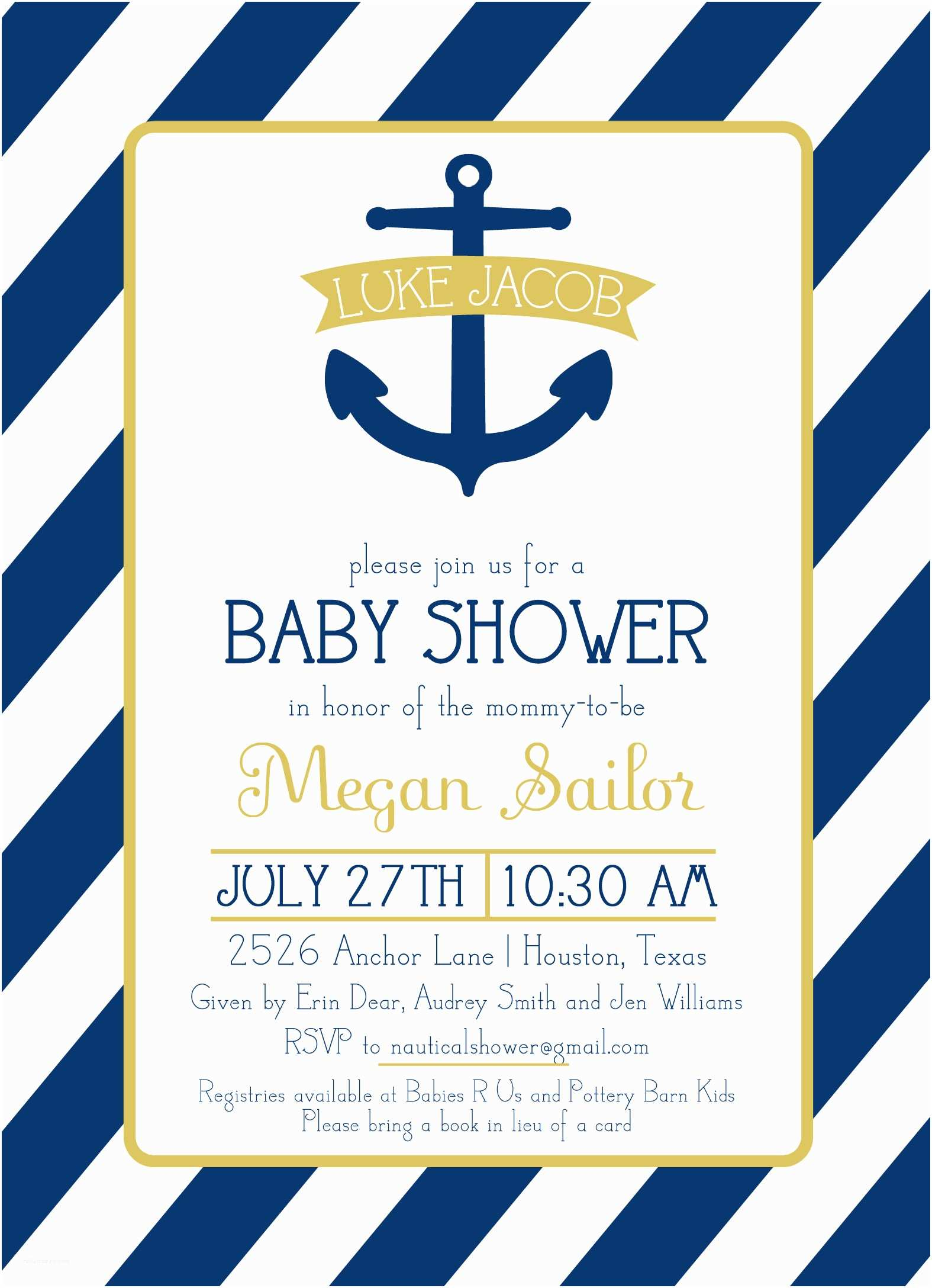 Nautical theme Baby Shower Invitations White Background with Blue Frame Nautical theme Baby
