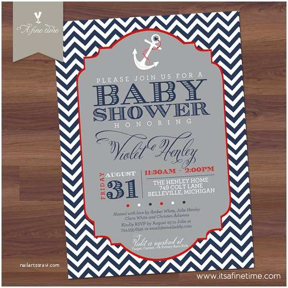baby shower invitation chevron nautical