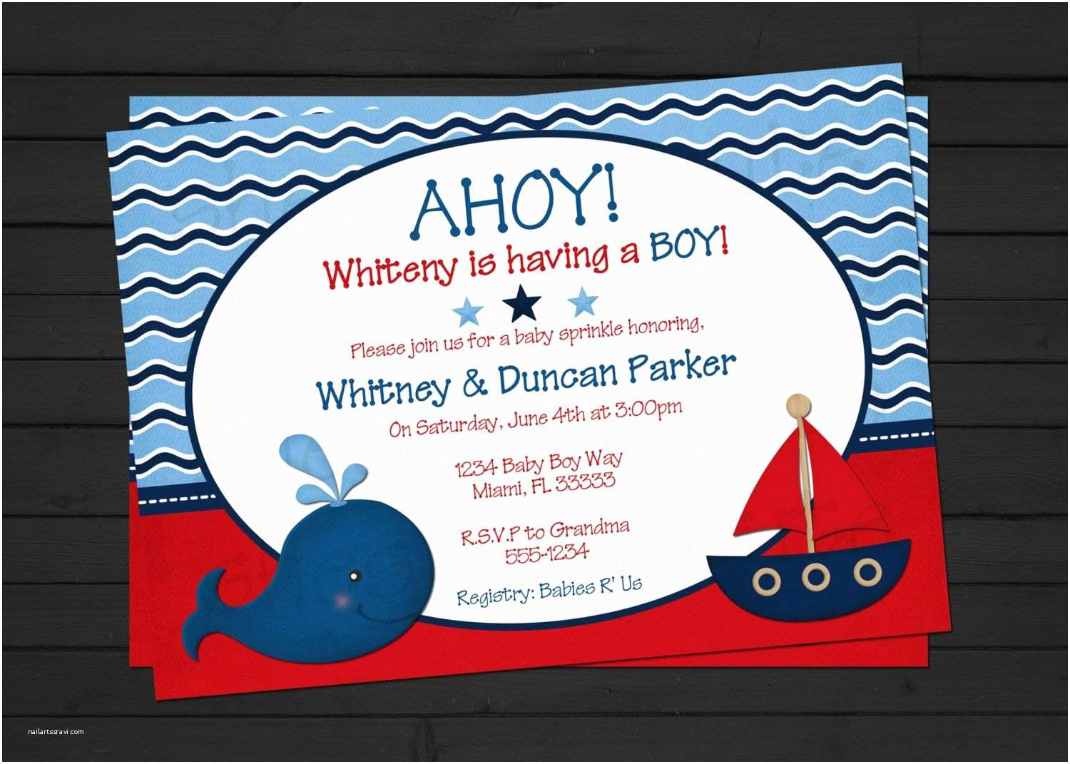 Nautical themed Baby Shower Invitations Ahoy It S A Boy Nautical Baby Shower Invitation by
