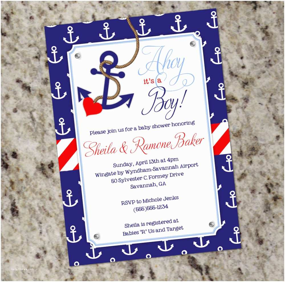 Nautical themed Baby Shower Invitations Ahoy It S A Boy Nautical themed Baby Shower Invitations