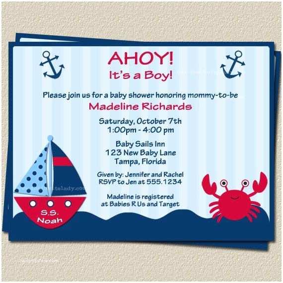 Nautical themed Baby Shower Invitations Ahoy Its A Boy Nautical theme Baby Shower Invitations with
