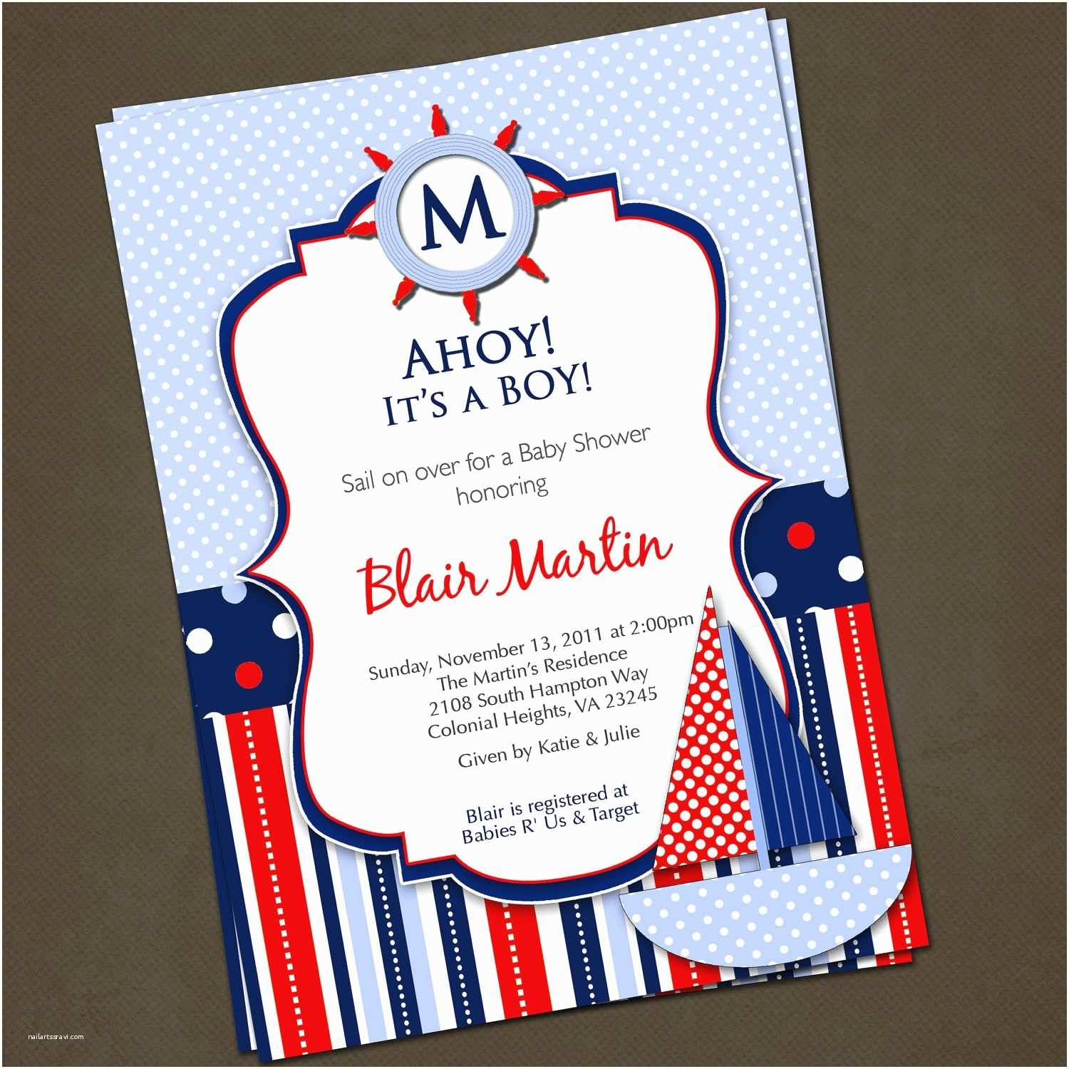Nautical themed Baby Shower Invitations Baby Shower Nautical theme Invitations