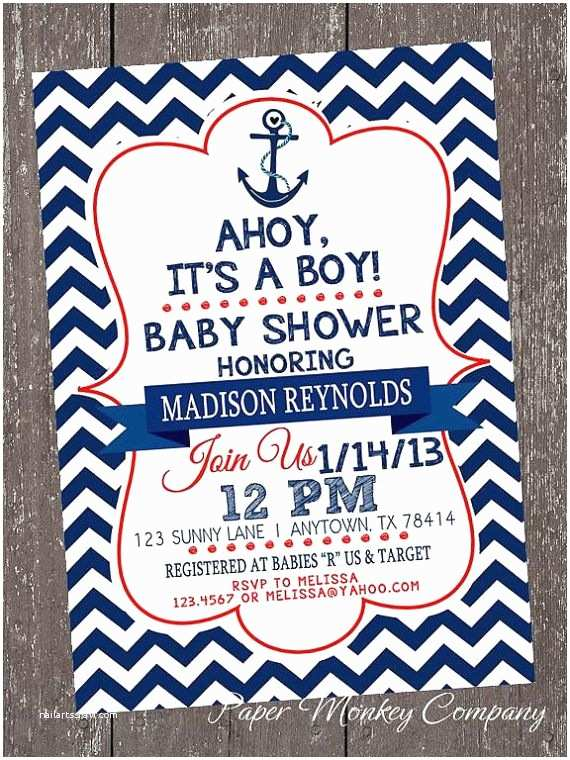 Nautical themed Baby Shower Invitations Chevron Nautical Baby Shower Invitations 1 00 Each with
