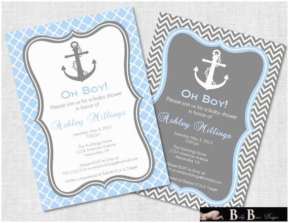 Nautical themed Baby Shower Invitations Nautical Baby Shower Invitation Boy Gray & Blue by