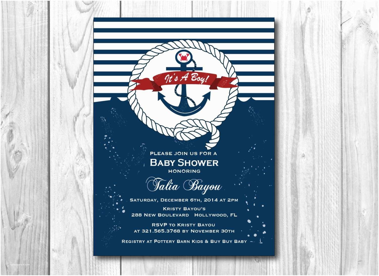 nautical baby shower theme invitation