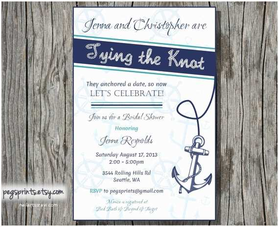Nautical themed Baby Shower Invitations Nautical Bridal Shower Invitation Printable by Pegsprints